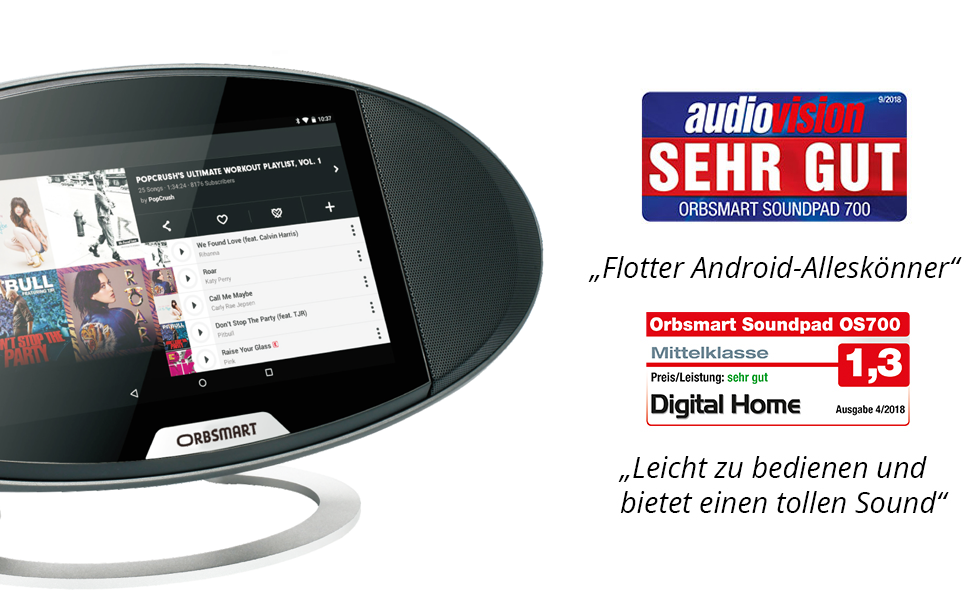 Digitalradio Webradio Octa-Core CPU, 2GB RAM, HDMI-Output, Dual band WIFI-ac, Bluetooth 4.0, Stereo speakers Orbsmart Soundpad 700 7-inch Android 7.1 Internetradio