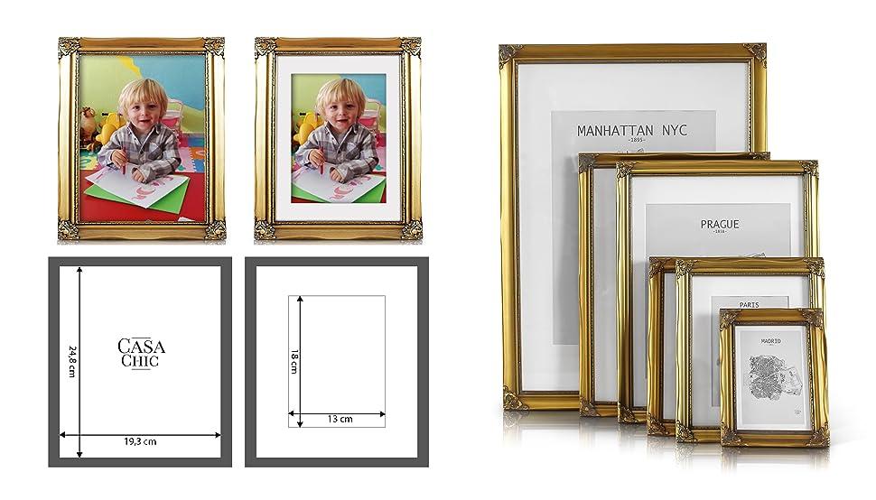 Antik Bilderrahmen 20x25 cm - Shabby Chic mit Passepartout für 13x18 ...