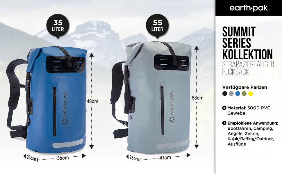 earth pak, dry bags, waterproof bags