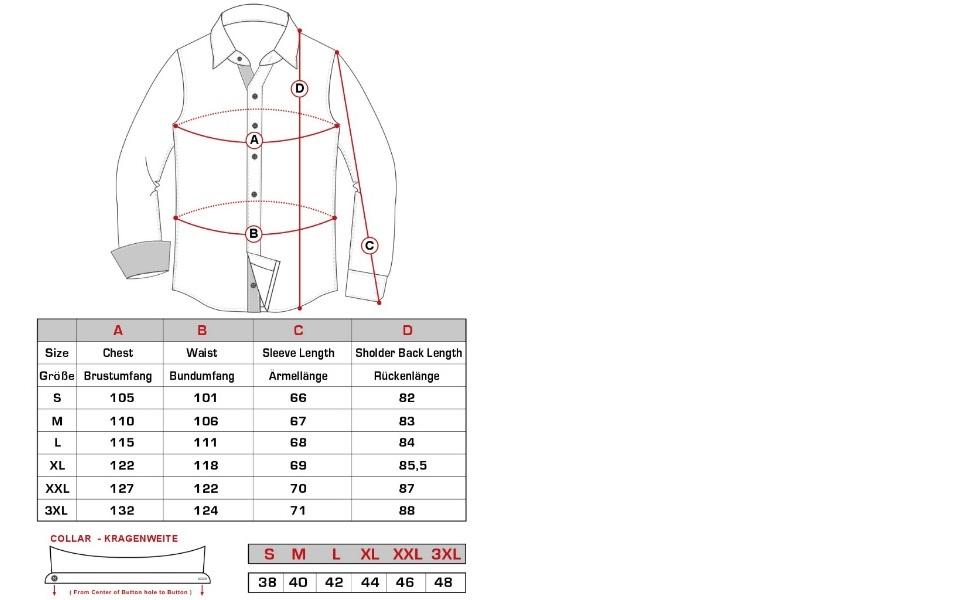 JS12105 slim fit Maßtabelle