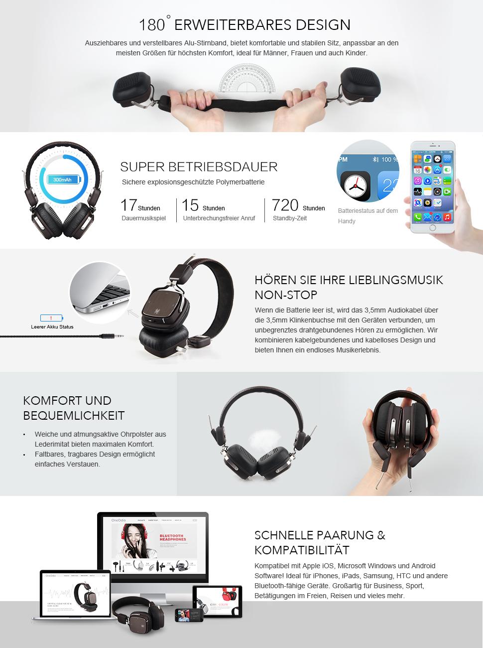 OneOdio Bluetooth Kopfhörer On Ear 88f3b0196c