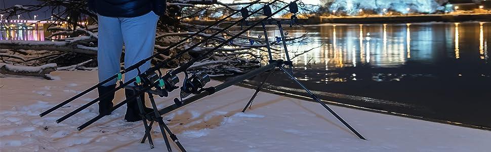 G8DS/® Set Rod Pod Rutenhalter Angeln luxuri/öser Tragetasche inklusive 2 Bissanzeiger mit Lautst/ärkeregler Karpfen