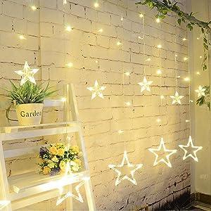 salcar lichterkette mit led kugel 12 sterne 138 leuchtioden lichtervorhang sternenvorhang 8 modi. Black Bedroom Furniture Sets. Home Design Ideas