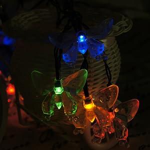 2x RGB LED Solar Schmetterling Farbwechsel Lichterketten Garten Außen Lampen
