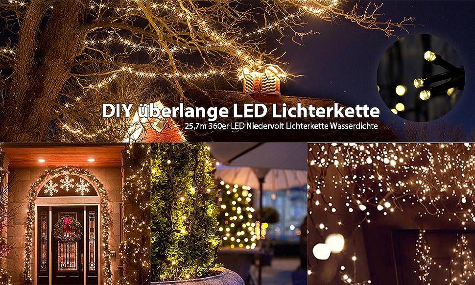 25 7m 360er Led Niedervolt Lichterkette Wasserdichte Dekorative
