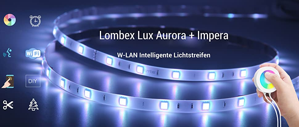 Lombex Intelligente W-LAN LED-Lichtstreifen Flexibles Tape mit Alexa ...