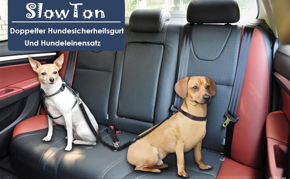 SlowTon Double Hund Sicherheitsgurt und Hundeleine Set, Dual ...