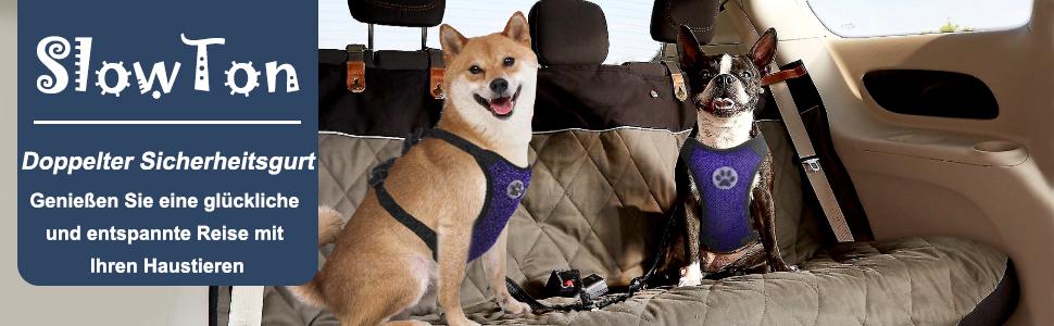 SlowTon Double Hund Sicherheitsgurt, Verstellbare Dual Haustier Auto ...