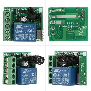 OWSOO Smart Home 433 MHz DC 12 V 1CH draadloze afstandsbediening relaismodule en RF-zender afstandsbediening