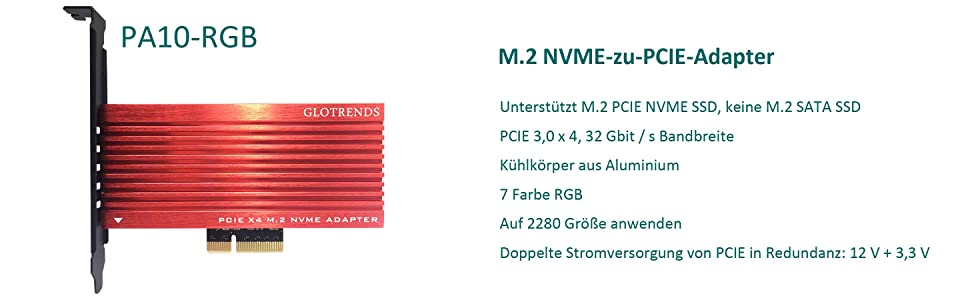 Glotrends M 2 Pcie Nvme To Pcie 3 0 X4 Adapter Card Computers Accessories