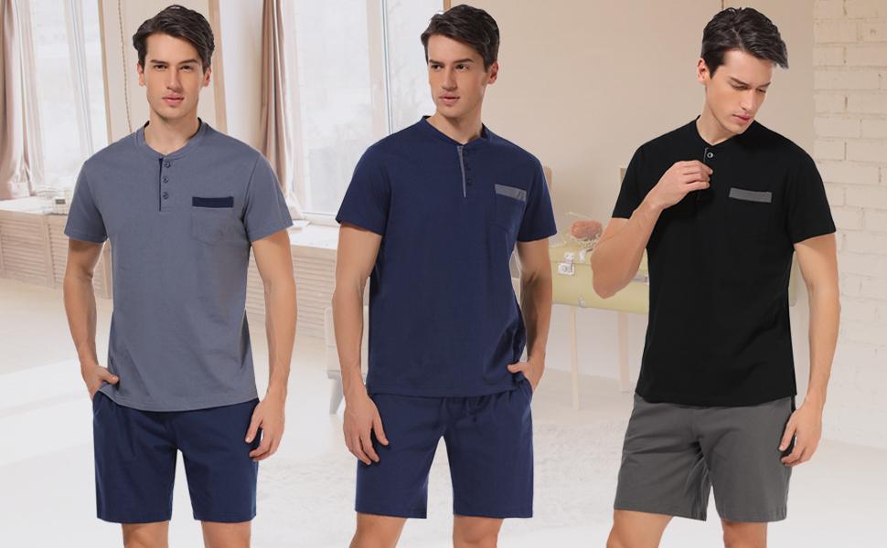 Hawiton Herren Schlafanzug kurz Sommer kurzarm Baumwolle Nachtw/äsche aus weicher Baumwolle Herren Pyjamas f/ür Herren Nachtw/äsche Loungewear