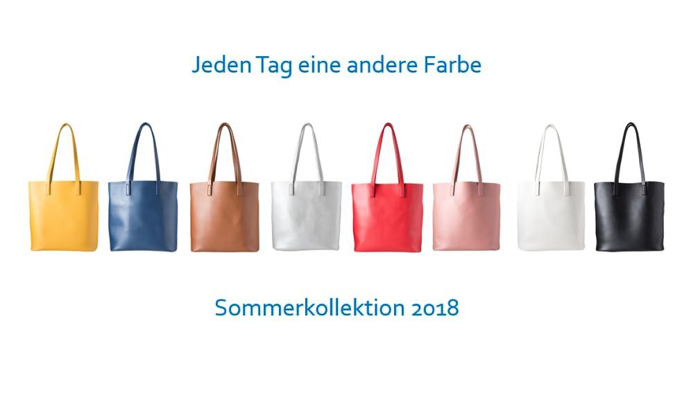 Damen Shopper Handtasche Tasche gelb blau braun silber rot rose weiß schwarz