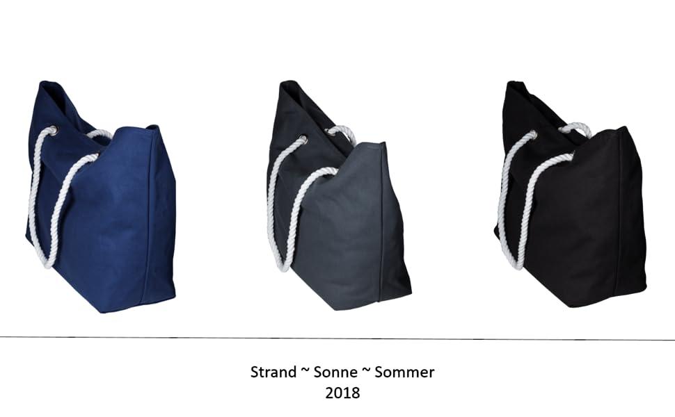 strandtasche shopper beach bag tasche strand schwarz blau grau kordeln sommer xxl tasche handtasche
