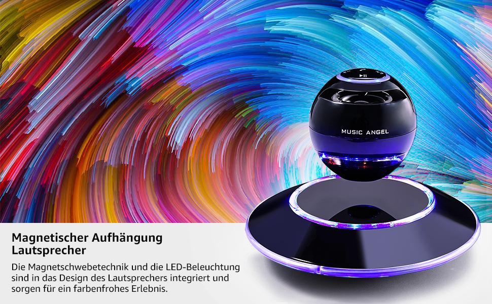 Schwebender Lautsprecher Freischwebender Lautsprecher mit Bluetooth 4.0 Multifarben LED 360 Grad Rotierende Soundeffekt