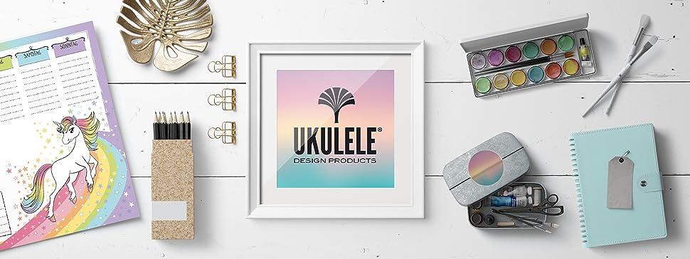 einhorn schreibtischunterlage f r kinder m dchen teenager erwachsene von ukulele din a3. Black Bedroom Furniture Sets. Home Design Ideas