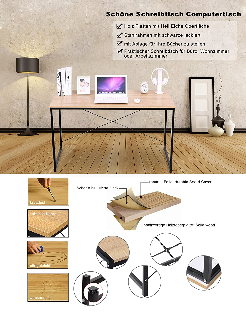 WOLTU TSB04hei Schreibtisch Computertisch Brombel PC Tisch