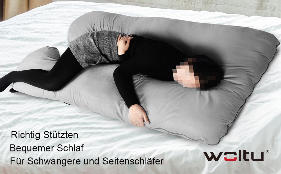 U-f/örmig Case Only mit kostenlosem Bezug 2,7 m wei/ß Hometex Schwangerschaftskissen