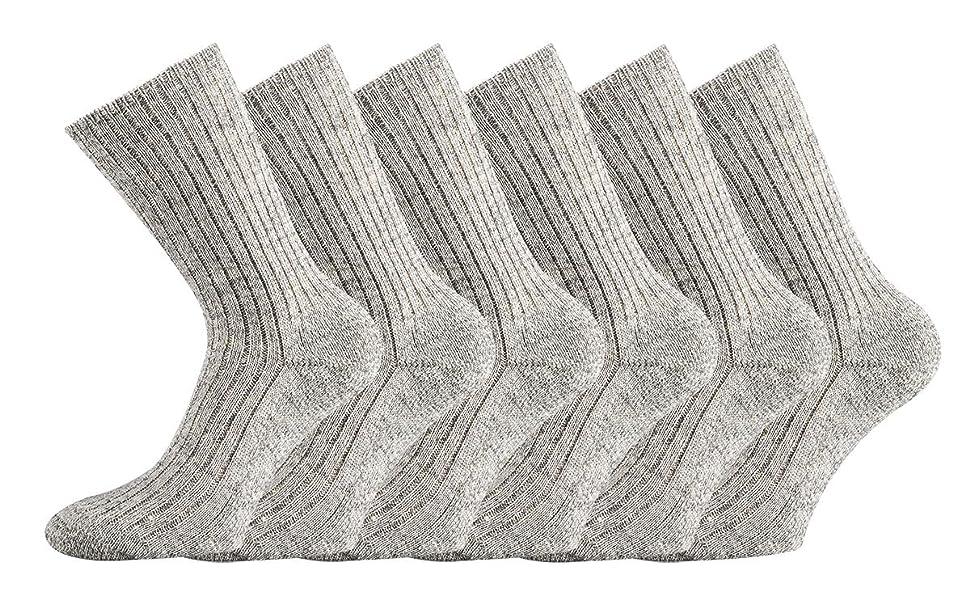 ohne Gummidruck 3 Paar Schafwollsocken mit Plüschsohle 100/% Schafwolle