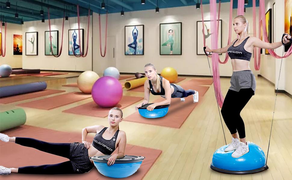 Fitnessausr/üstung mit elastischen Saiten ISE Balance Trainer Ball /Ø 46 cm SY-BAS1003 Max 150 kg Halbball f/ür Yoga Pilates Home Fitness