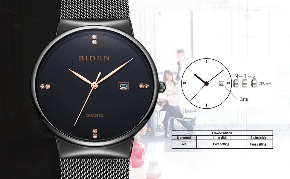 Damenuhren schwarz metall  BINZI Quarz Armbanduhr Ultra-dünne schwarz und gold ...
