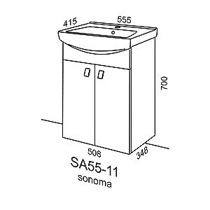 Waschtisch + Spiegel Badmöbel Set 55cm für Badezimmer WC (Wenge ...