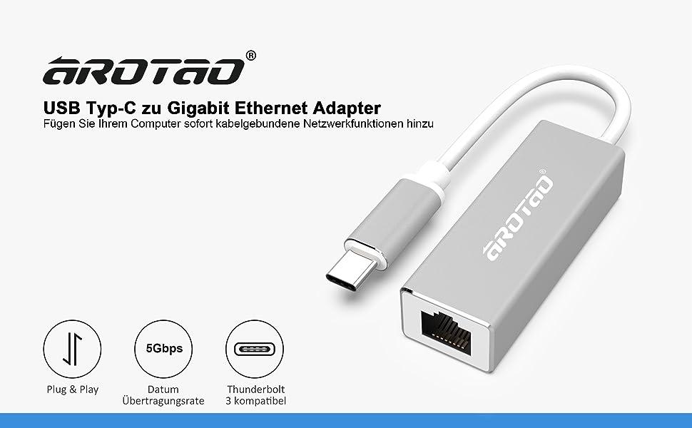 aROTaO USB-C auf Ethernet Adapter, USB 3.1 Typ C auf: Amazon.de ...
