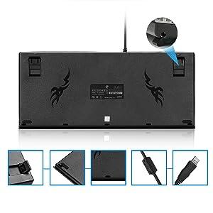 HUO JI Z77 Teclado mecánico para gaming, iluminación LED, aluminio, diseño ergonómico, 88 teclas, Outemu modular azul, disposición alemana, negro