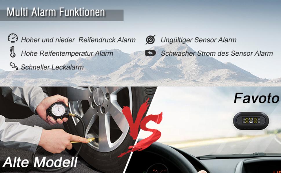 Favoto Reifendruckkontrollsystem Auto TPMS Reifendruck Kontrolle 2.6-7 Bar Reifendruckmesser mit 4 Externe Sensoren SUV LCD Display auf Windschutzscheibe f/ür Auto KFZ