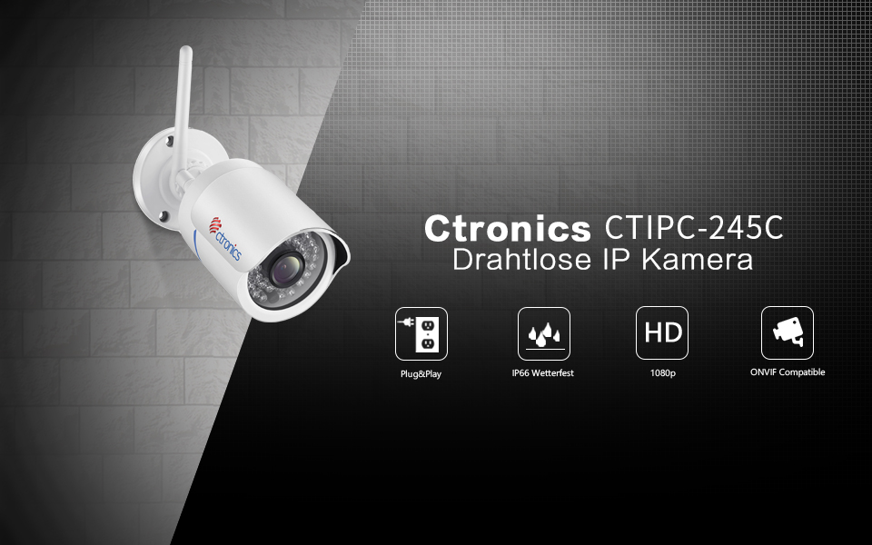 ctronics drahtlose ip kamera berwachungskamera kamera. Black Bedroom Furniture Sets. Home Design Ideas