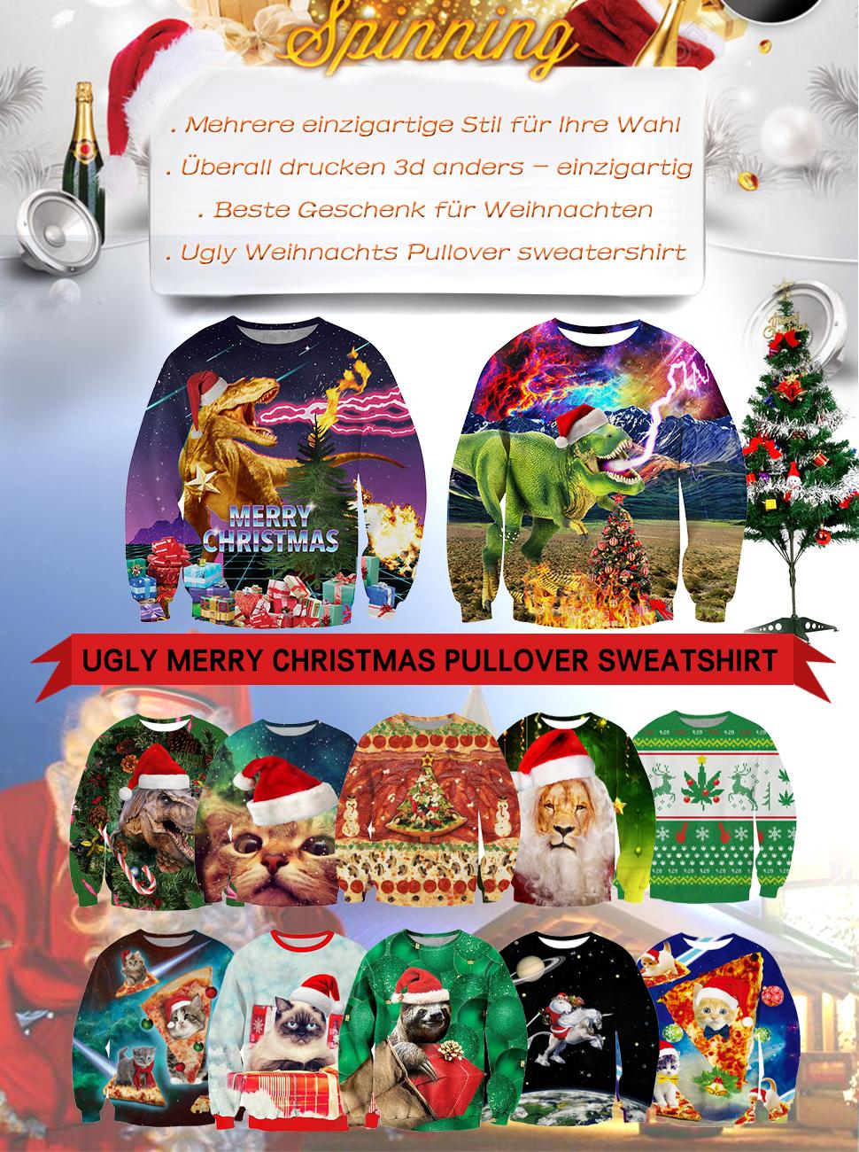 uideazone Unsiex Ugly Christmas Jumper 3D Gedruckt Weihnachten ...