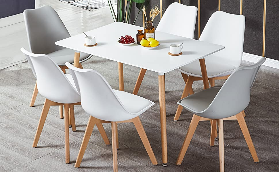 HJ WeDoo Rechteckig Esstisch Buchenholz für 4 6 Stühle Esszimmertisch Küchentisch MDF Weiß 110 x 70 x 73 cm (Nur Tisch)