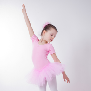 light blue white black in pink made of cotton blend 3-layered tulle hot pink and purple tanzmuster girls/´ short-sleeved ballet tutu leotard Nele with rhinestones