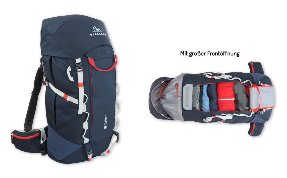 Trekking-Rucksack NORDKAMM, für Backpacker, Reise, als Tourenrucksack, für Damen und Herren, blau