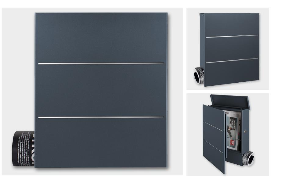 Mocavi Box 141 Design Briefkasten Mit Zeitungsfach Anthrazit Ral