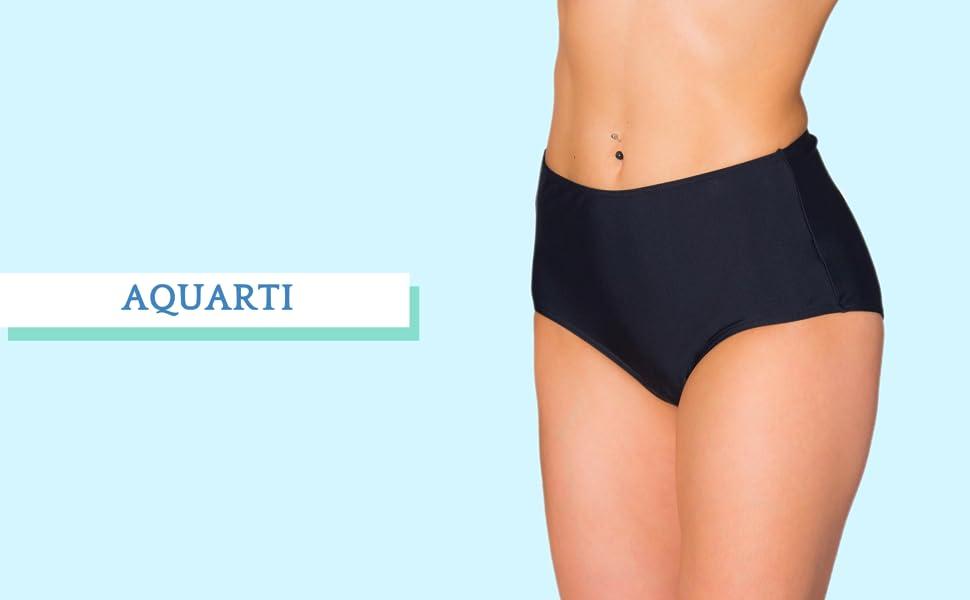 Aquarti Damen Bikinihose mit Rock Seitliche Raffung
