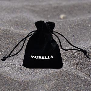 Morella Damen-Halskette 80 cm mit rundem Edelstein Anhänger Lapislazuli im Samtbeutel