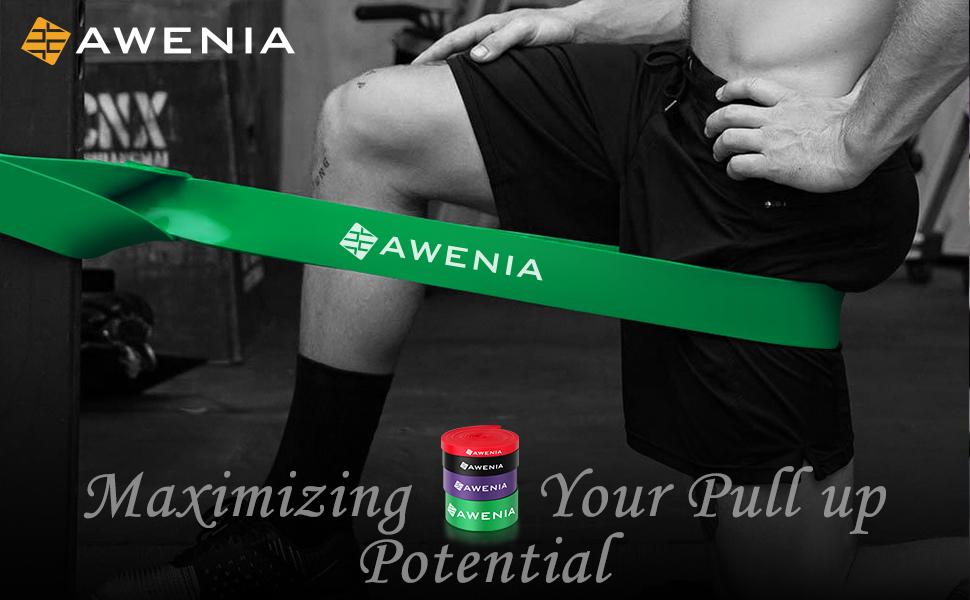 Lila Awenia Fitnessb/änder Resistance Bands Widerstandsb/änder Expander 100/% Naturlatex Gymnastikband f/ür Klimmzughilfe 35-85LB