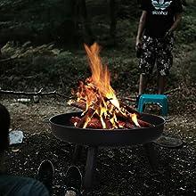 Feuerschale 66cm Terrasse Grill Feuerkorb Klöpperboden Gusseisen Gartenfeuer SOP