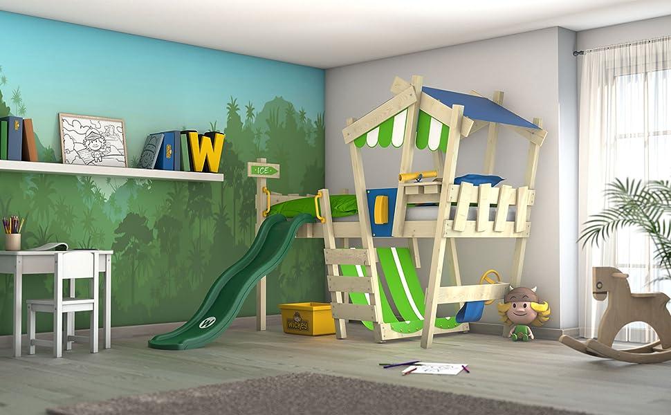 Etagenbett Crazy Circus : Wickey kinderbett crazy hutty mit rutsche hochbett in