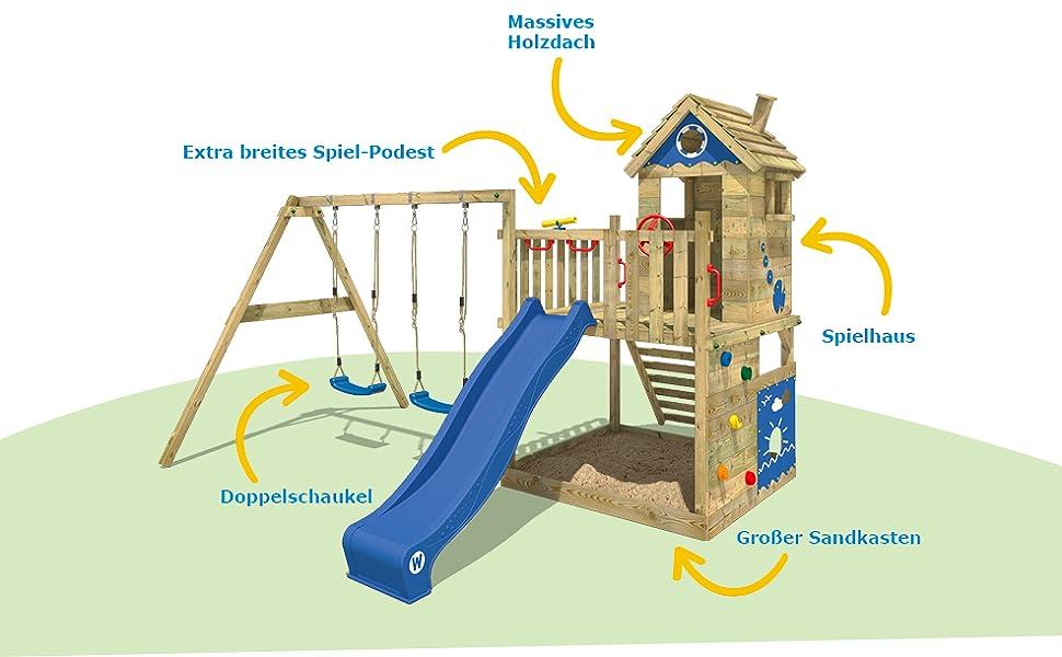 Klettergerüst Wickey : Wickey spielturm smart lodge kletterturm baumhaus garten mit