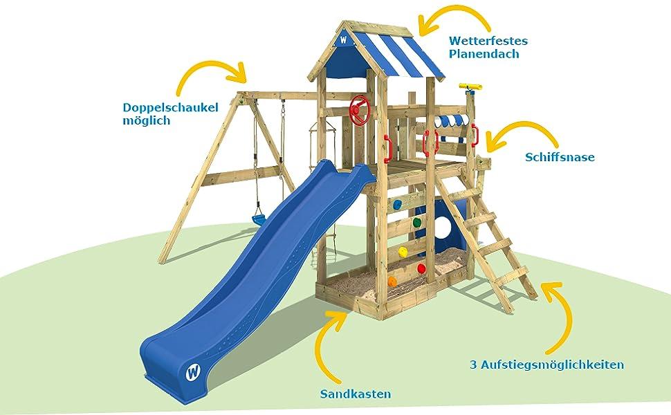 Klettergerüst Schaukel : Spielturm mit rutsche und schaukel sandkasten schick