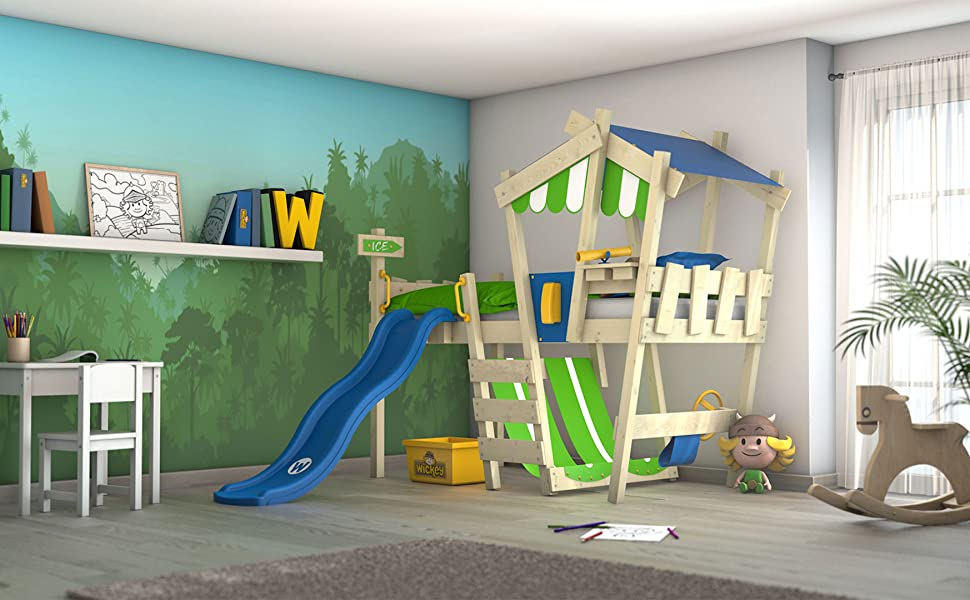 Etagenbett Wickey Crazy Trunky : Wickey kinderbett crazy hutty mit rutsche hochbett in