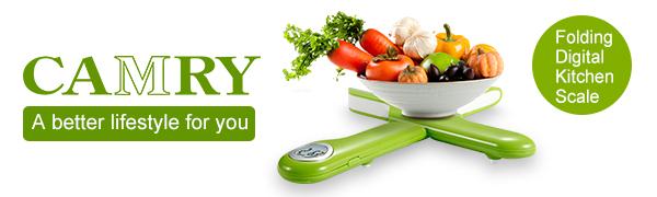 Camry Zusammenklappbare Digitale Elektronische Küchenwaage Digitalwaage,...
