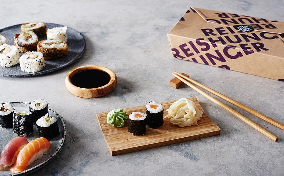 reishunger sushi servier set 4 teilig f r 12 personen aus bambus perfekt f r. Black Bedroom Furniture Sets. Home Design Ideas