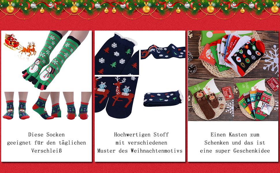 Vertvie 12 Paar Unisex Weihnachtssocken Christmas Socks ...