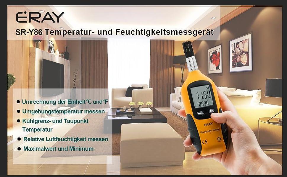 Taupunkt und Feuchte Bibliotheken ERAY Temperaturmessger/ät f/ür Umgebung Laboratorien mit LCD-Hintergrundbeleuchtung Thermometer und Hygrometer Digital f/ür Werkstatt Feuchtigkeitsmessger/ät