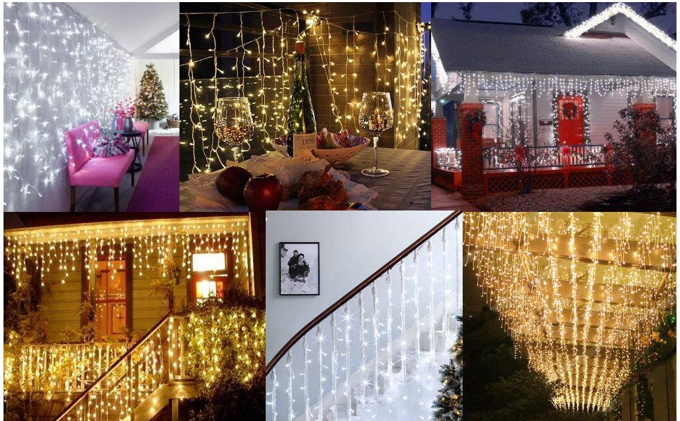 5//10//15m LED Eisregen Lichterkette Eiszapfen Weihnachtsleuchte Außenlichterkette