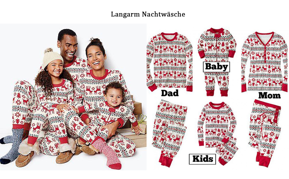 ECOWISH Weihnachten Schlafanzug Familien Outfit Mutter Vater Kind ...