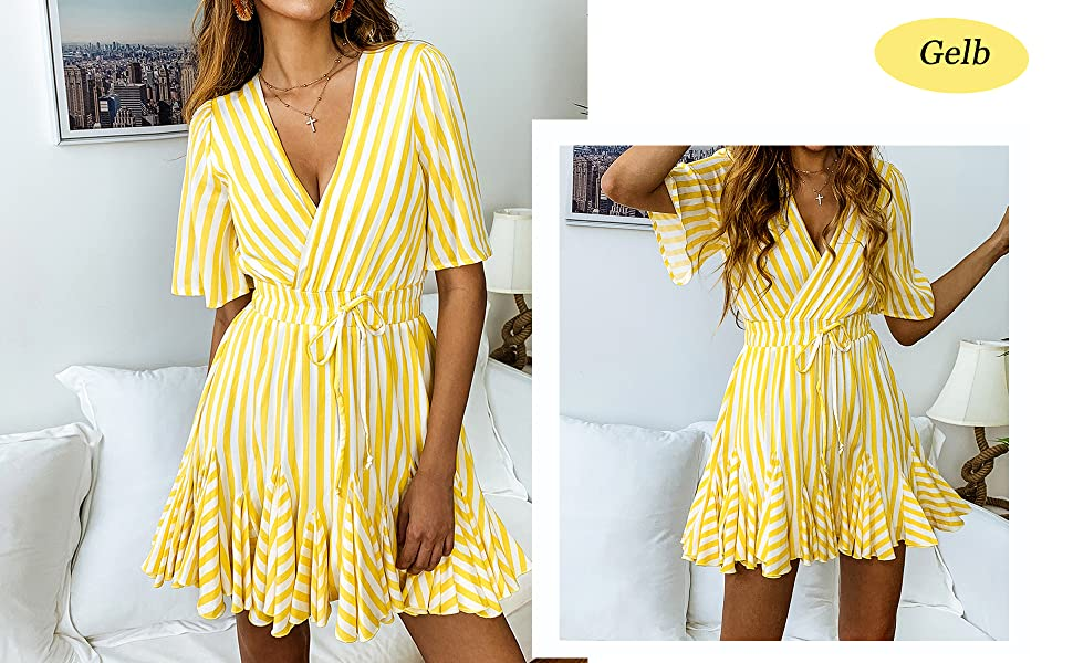 b89148b624a22 ECOWISH Damen Kleider Gestreift A-Linie Sommerkleid V-Ausschnitt Wickelkleid  Kurzarm Casual Mini Strandkleid