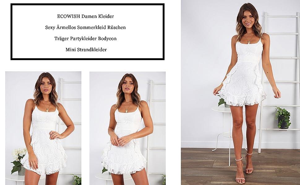 Geschäft noch eine Chance neue Produkte für ECOWISH Damen Kleider Sexy Ärmellos Sommerkleid Rüschen Träger Partykleider  Bodycon Mini Strandkleider